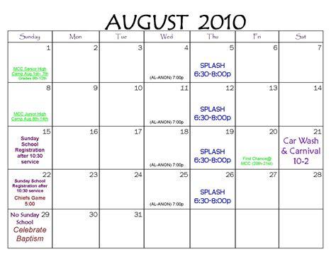 August 2010 Calendar Calendar For Liverpool Christian Church You Matter To God