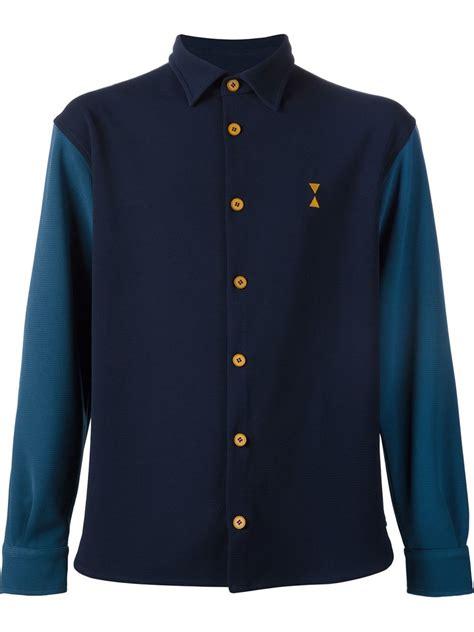 Blouse 3colour Blue Vv lyst pigalle colour block shirt in blue for