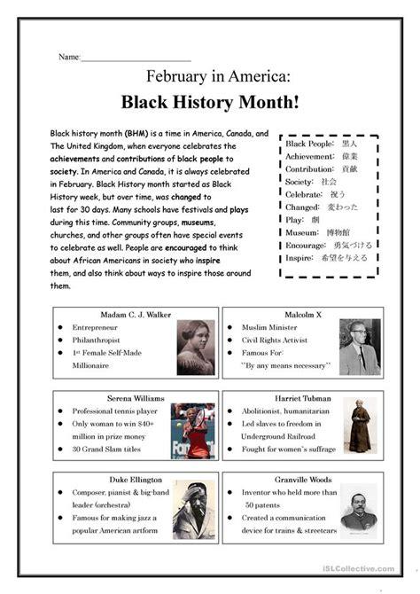 Printable Worksheets Black History Month | black history month worksheet free esl printable