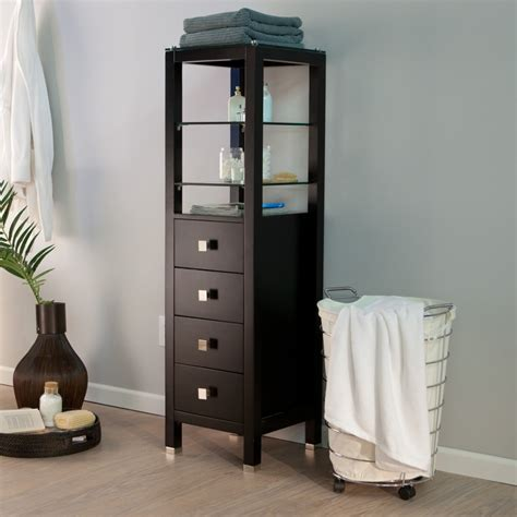 wood bathroom storage cabinet with top glass shelves above drawer and painted with Bathroom Cabinet With Shelves