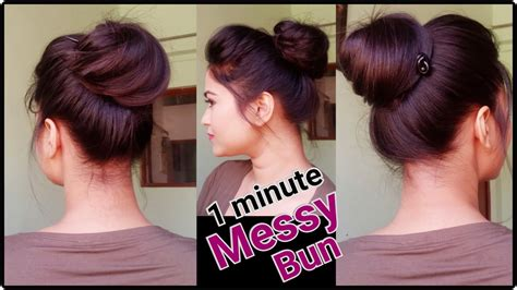 1 min messy bun with bunstick everyday hairstyles for
