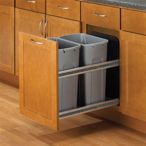 kitchen trash can cabinet hafele bottom mount soft built in waste bin 2 x 35 quart 8 75 gallon and 2 x 50