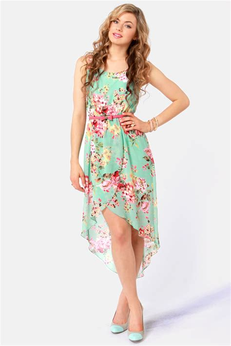 pretty floral print dress high  dress