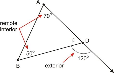 Exterior And Remote Interior Angles by Triangle Sum And Exterior Angle Theorems Ck 12 Foundation
