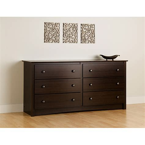 walmart bedroom dressers prepac edenvale 6 drawer dresser espresso walmart com