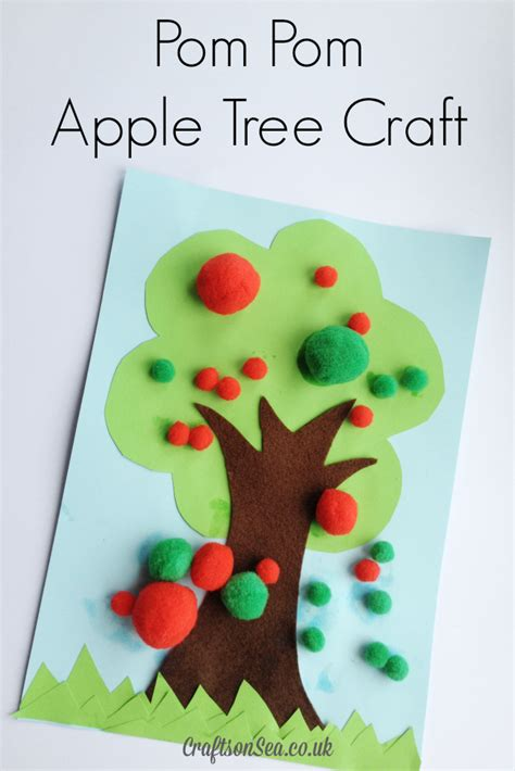 craft ideas for tree pom pom apple tree craft crafts on sea