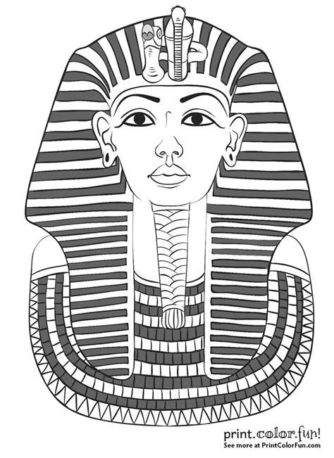 king tutankhamun s mask coloring page print color fun