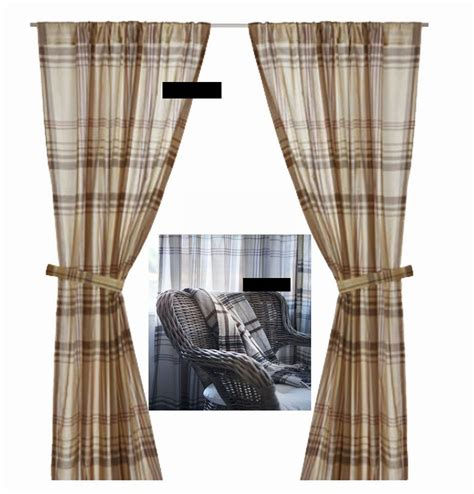 Ikea Benzy Plaid Curtains Drapes 2 Panels Beige Tan Gray