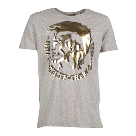 T Shirt Diesel diesel t shirt grey gold t mohican mens