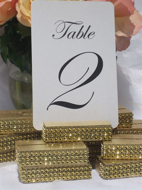 table numbers and holders gold wedding table number holder trimmed with a gold