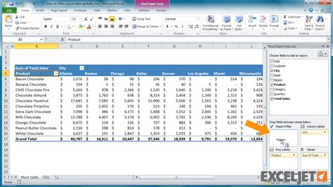excel jet tutorial excel tutorial how to filter a pivot table globally