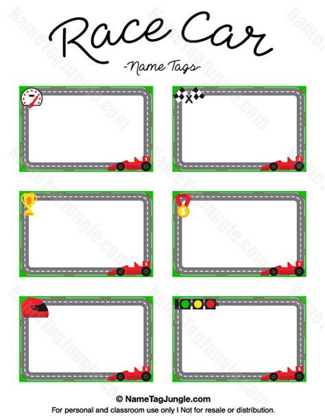 Printable Race Car Name Tags Auto Labels Templates