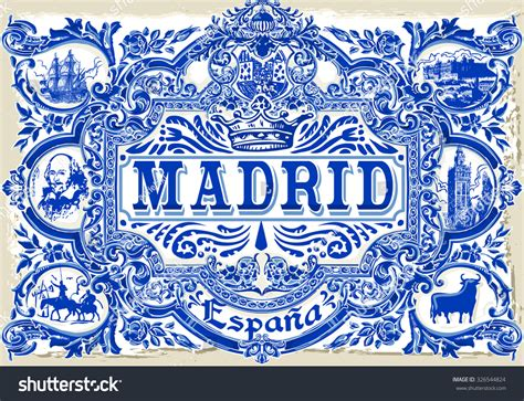a pattern in spanish spanish ornate tile work madrid symbol stock vector