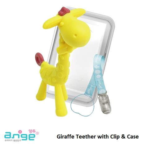 Gigitan Baby Ange Teether Gigitan Bayi Kuda Gigitan Silikon ange giraffe teether with clip and gigitan bayi 3