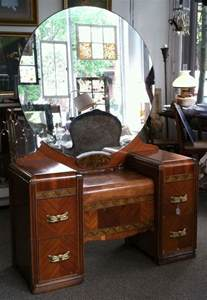 Vintage Vanity Table With Mirror For Sale 1930 1940 S Deco Wood Inlay Vanity Dressing Table With