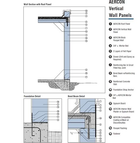 concrete wall section construction details aercon aac autoclaved aerated concrete