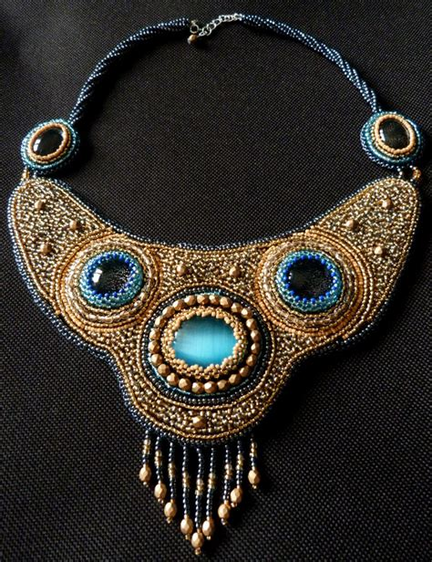 Necklace Kalung Choker Embroidered Embroidery horus bead embroidery necklace by nikkichou on deviantart