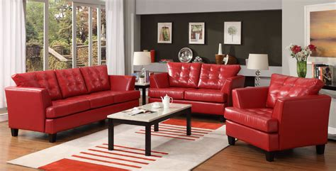 red leather sofa set 1 138 homelegance u9994red della all bonded leather sofa