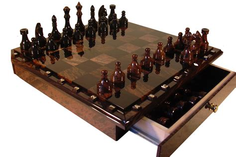 Handcrafted Chess Set - chess backgammon handmade chess set 116 102 obsidian