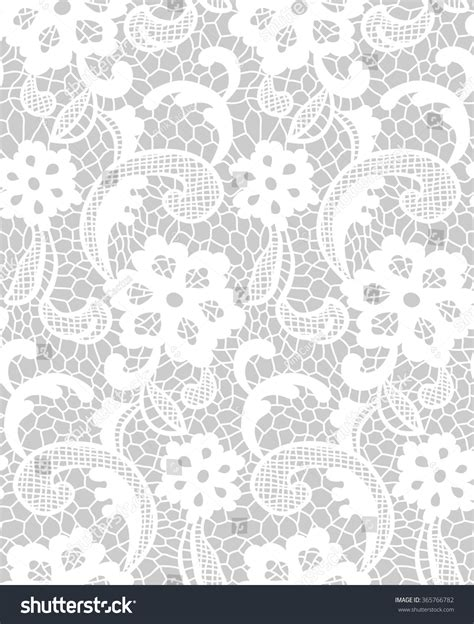 repeat pattern motifs lace pattern floral motifs grey white stock vector