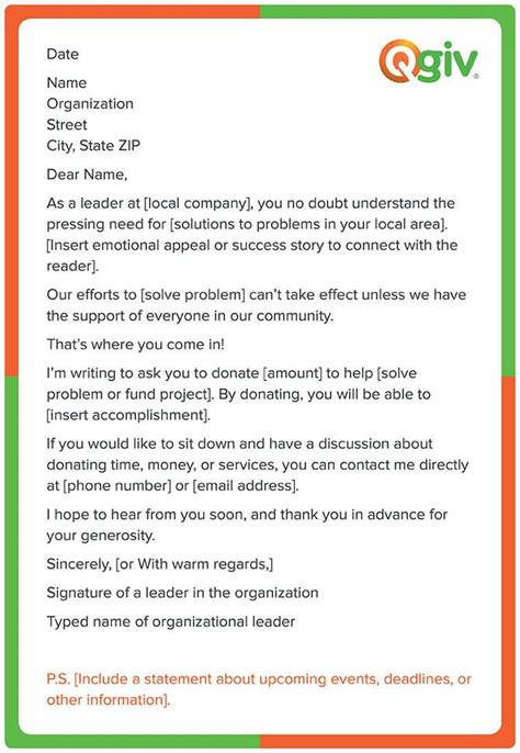 fundraising letter template corporate