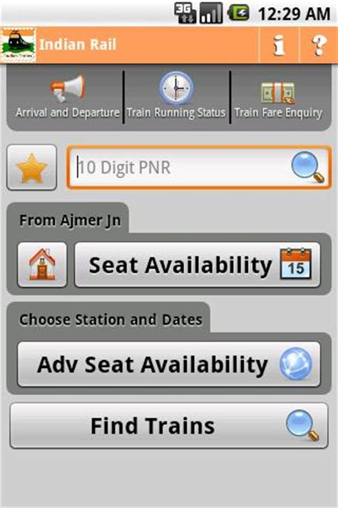 railway enquiry for seat availability check pnr status seat availability with indian rail info