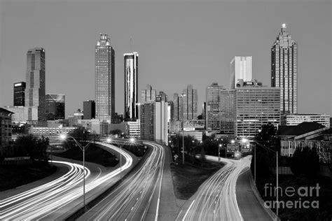 atlanta skyline black and white wallpaper atlanta skyline in morning downtown light trails bw black