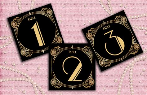 themes in the great gatsby with page numbers great gatsby art deco table cards 1 60 table numbers table