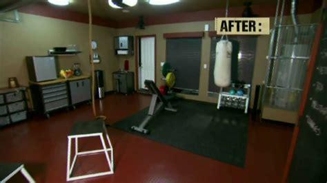 house crashers remodels garage  home gym youtube