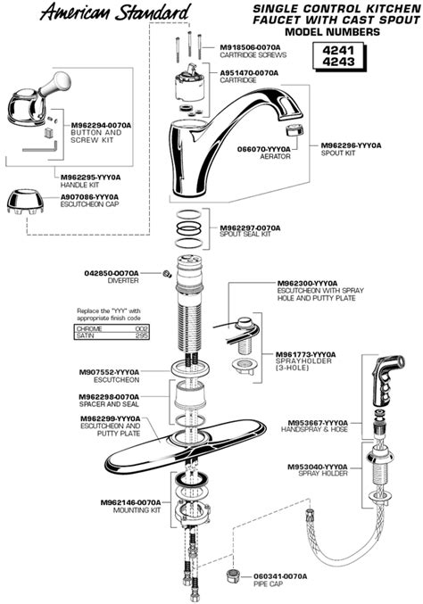american standard kitchen faucet parts diagram plumbingwarehouse american standard commercial