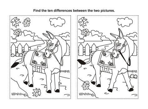 Printable Horse Games | find the difference printable horse game birthday party