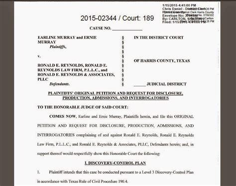 Files Lawsuit by Houston Courts Cases Lawyer Legislator Ronald E