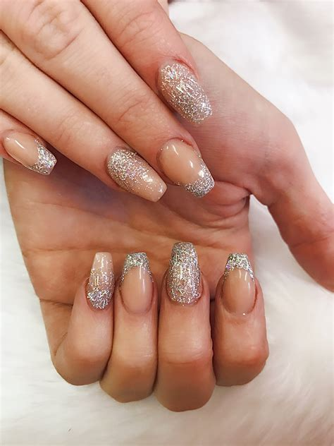 acryl nail encapsulated glitter coffin shaped acrylic nails our