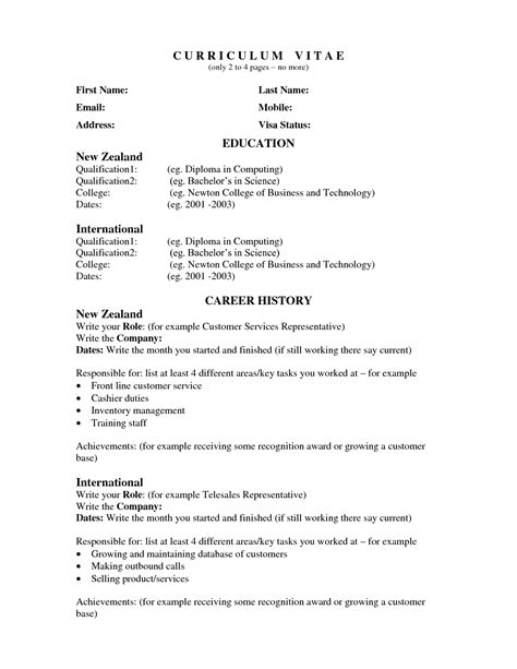 cv template nz cover letter exles new zealand