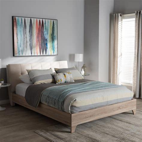 baxton studio bed baxton studio adelia mid century beige fabric upholstered