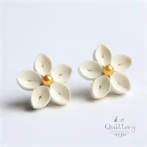 Chandelier Clip Earrings Ivory Flower Earrings Handmade Quilling Paper Jewelry