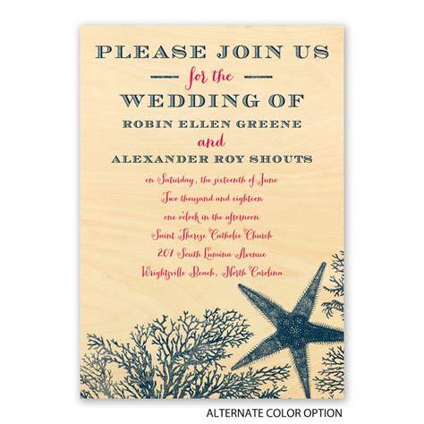 real wood wedding invitations wording coral reef real wood invitation invitations by