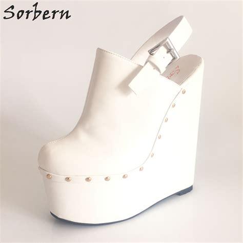 Popits Slingback Wedges 7cm sorbern white slingbacks extrem high heels 20cm 7cm high platform thick wedge heeled
