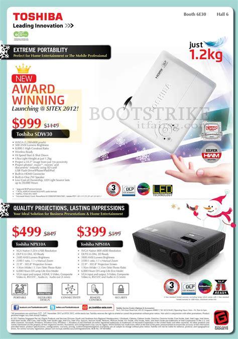 Proyektor Toshiba Npx10a toshiba projectors sdw30 npx10a nps10a sitex 2012 price list brochure flyer image