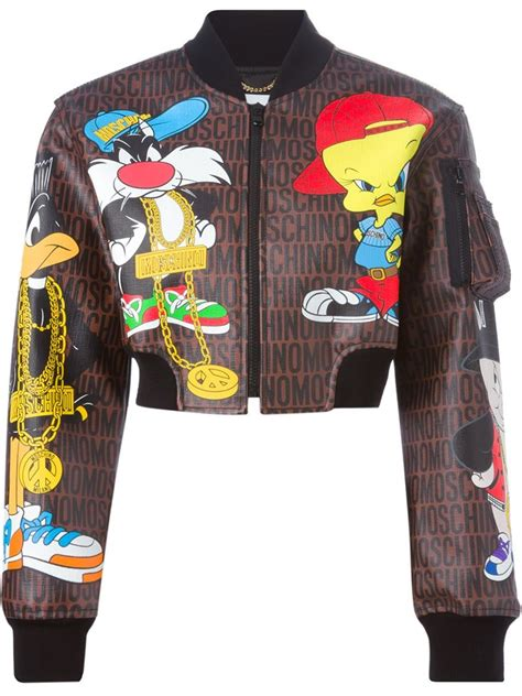 Moschino Bomber Jacket lyst moschino looney tunes bomber jacket in brown
