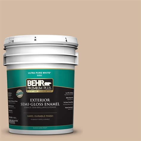 behr premium plus 5 gal 290e 3 classic taupe semi gloss enamel exterior paint 540005 the