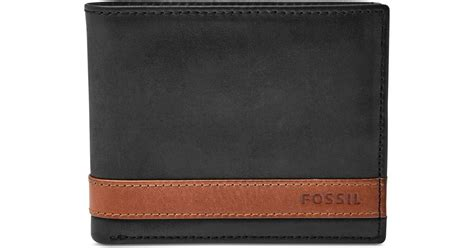 Wallet Fossil Quinn Black Premium fossil quinn bifold with flip id leather wallet in black for lyst