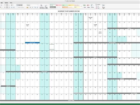 excel horizontal academic year planner    faragher teaching resources