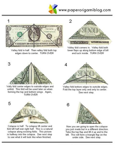 Step By Step Dollar Bill Origami - money origami butterfly paper origami guide