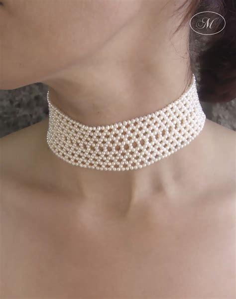 Woven Choker woven seed pearl choker marina j jewelry dw jewelry