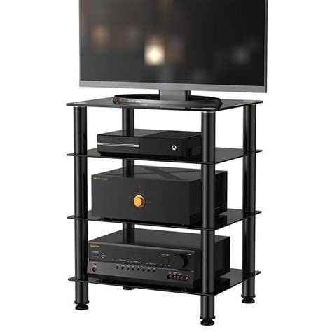 audio video tower cabinet fitueyes 4 tier tv media stand for audio cabinet apple tv