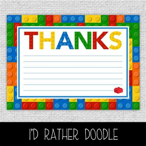 printable lego birthday thank you cards bricks thank you card printable bricks thank you card