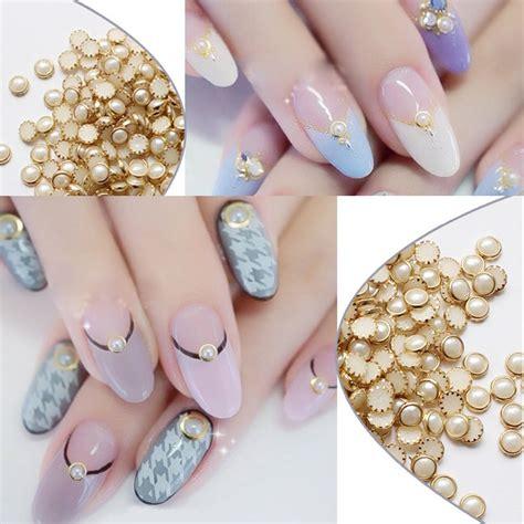 Ho5249 Diy Nail Pearl gold alloy nail pearls glitter studs rhinestones nail beige design metal edge