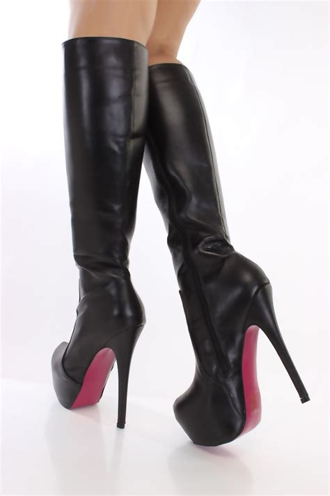 black leather boots for black faux leather knee high platform boots boots catalog