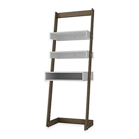 Ladder Bookcase Desk Manhattan Comfort Urbane Carpina 2 Shelf Ladder Desk Bookcase In White Bed Bath Beyond